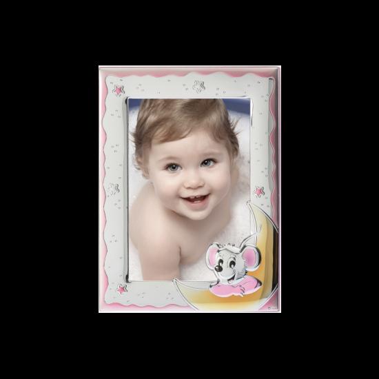 Рамка из серебра для девочки Мышка розовая MB/126-R
