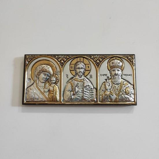 Икона Богородица Казанская-Спаситель-Св.Николай 501PBG/3M/P