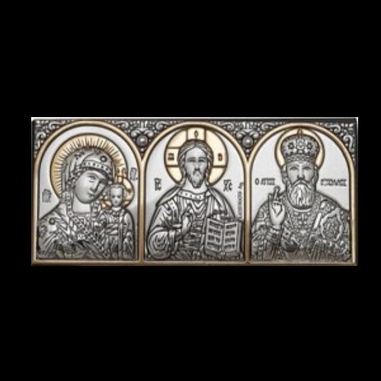 Икона тройная Богородица Казанская Спаситель Святой Николай 501PBG/3M