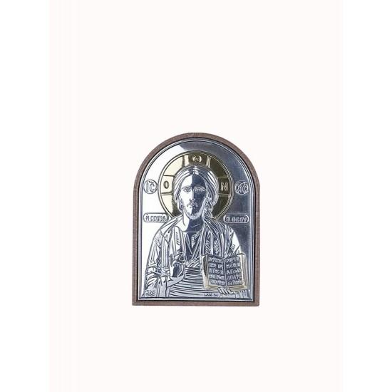Спаситель серебряная икона закрытый лик 001PBG