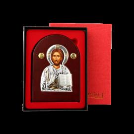 Спаситель серебряная икона в деревяном окладе