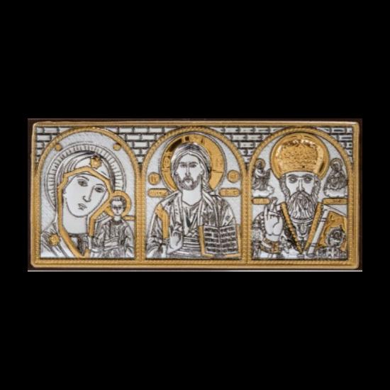 Икона тройная Богородица Казанская, Спаситель, Святой Николай МВ/Е1316
