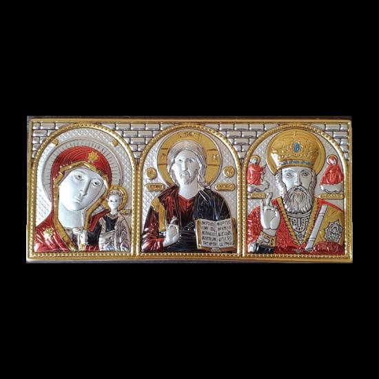 Икона тройная Богородица Казанская, Спаситель, Святой Николай цветная МВ/Е1316-C