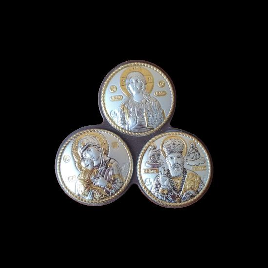Икона тройная Спаситель, Богородица Владимирская, Николай Чудотворец MB/E1318-X