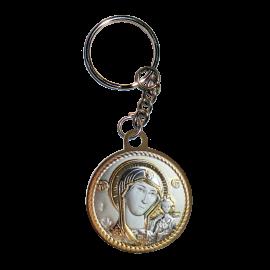 Икона двойная Богородица Казанская и Спаситель на металлическом брелке