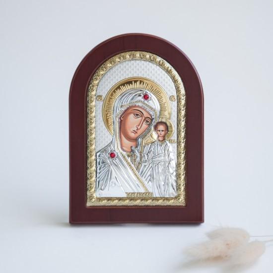 Богородица Казанская серебряная икона с позолотой MA/E1106