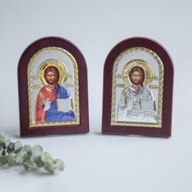 Спаситель икона серебряная с позолотой арка