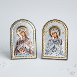 Богородица Семистрельная серебряная икона