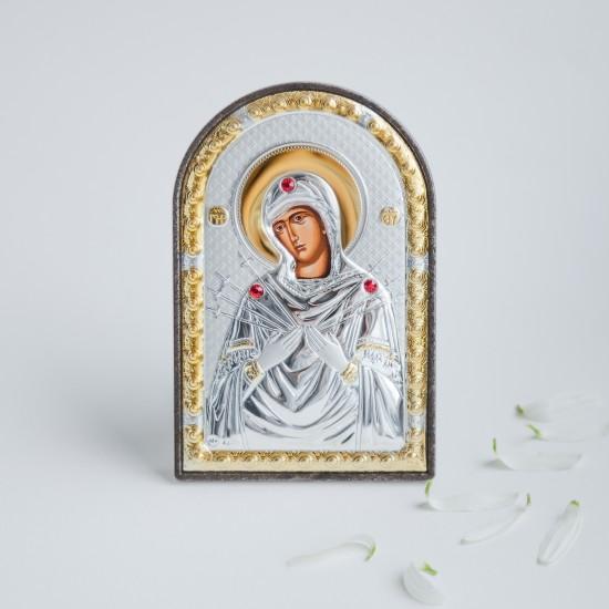 Богородица Семистрельная серебряная икона MA/E1114-2X