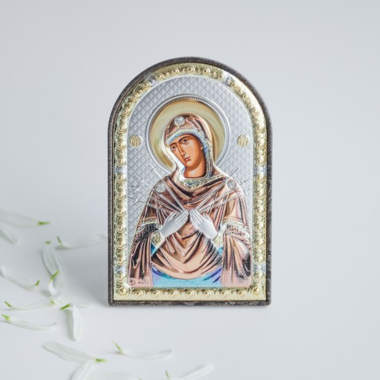 Богородица Семистрельная серебряная икона MA/E1114-2XC