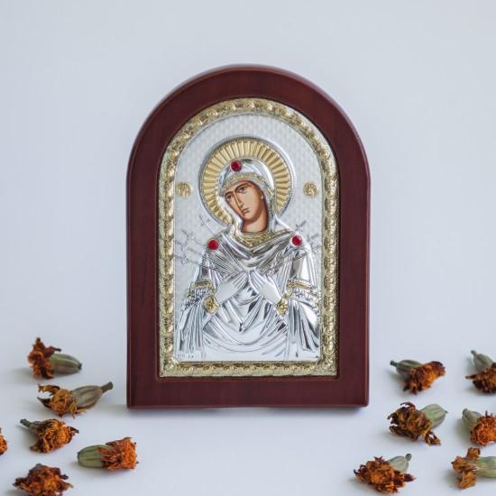 Богородица Семистрельная серебряная икона с позолотой MA/E1114