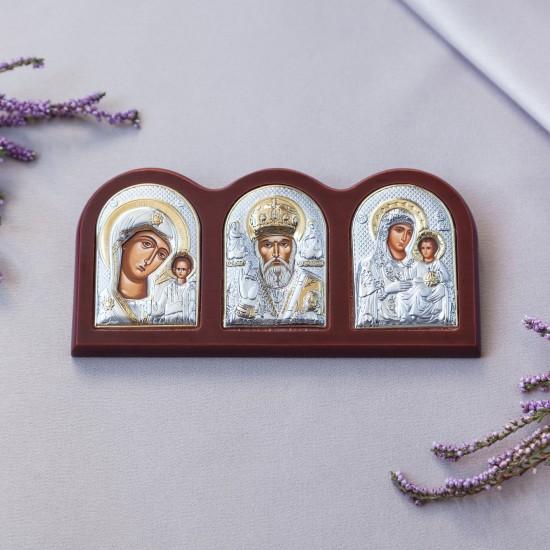 Триптих со Святым Николаем, Богородицей Казанской и Богородицей Иерусалимской MA/E1307X
