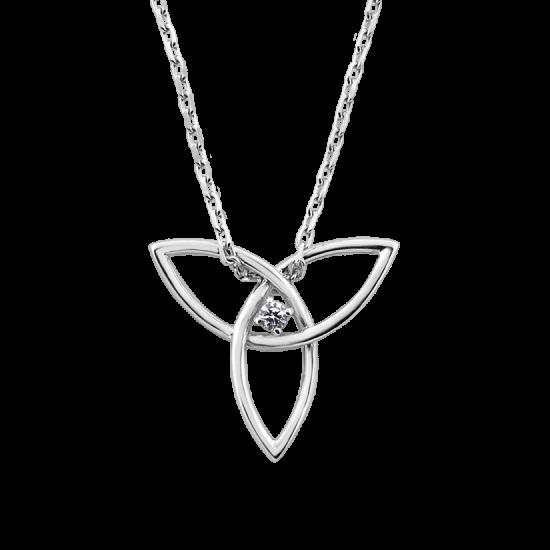 Колье серебряное Трилистник с цепочкой ВС-087