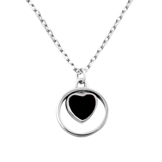 Колье серебряное Сердечко с цветной эмалью в круге ВС-125
