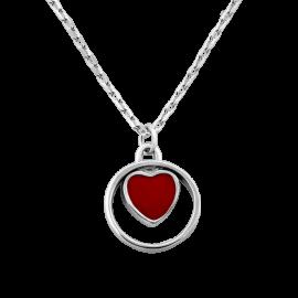 Колье серебряное Сердечко с эмалью