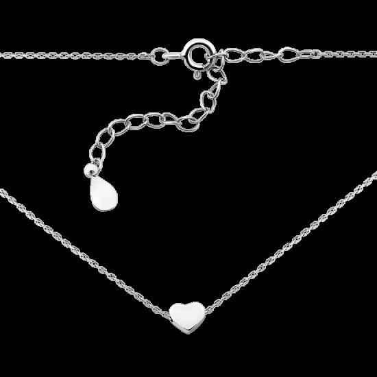 Колье серебряное маленькое Сердечко без камней ВС-129р