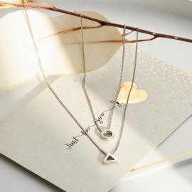 Колье серебряное Гармония с двумя подвесками на цепочках