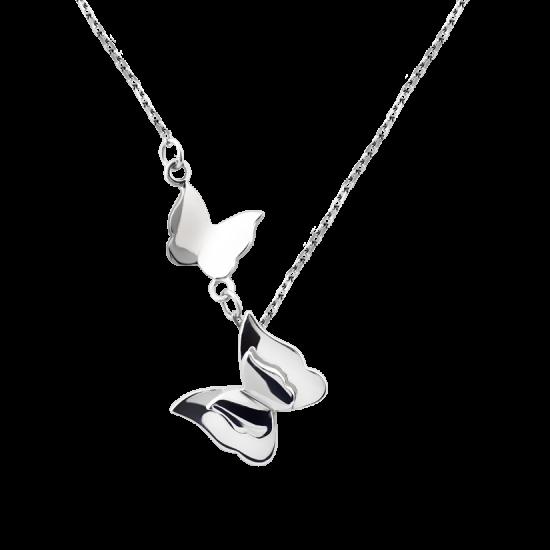 Колье серебряное две Бабочки без камней ВС-142р