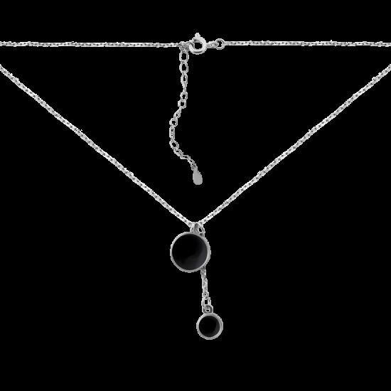 Колье серебряное с черной эмалью два круга ВС-173ер