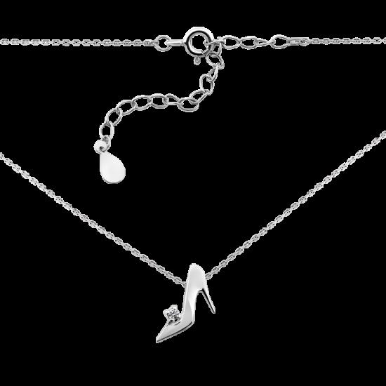 Колье серебряное Туфелька на каблучке с белым фианитом СД-031(ф)