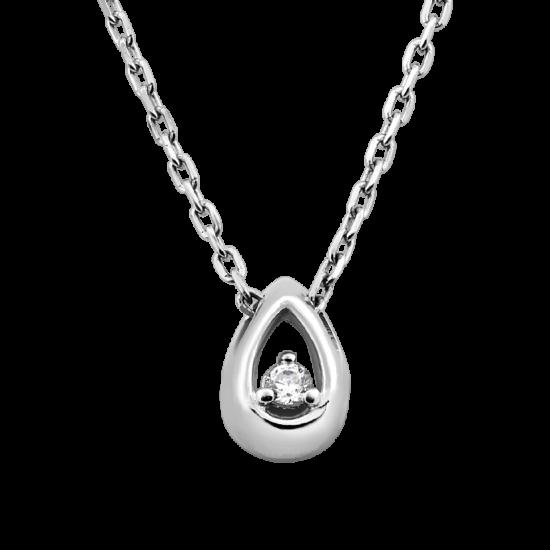 Колье серебряное Капелька с фианитом внутри СД-032(ф)