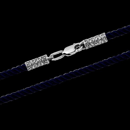 Шнурок синтетический с серебряной застежкой КС-0130