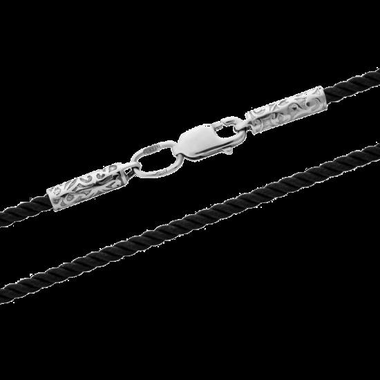 Шнурок синтетический с серебряной застежкой КС-0320