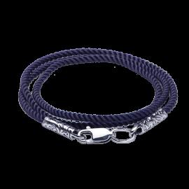 Шнурок синтетический с серебряной застежкой