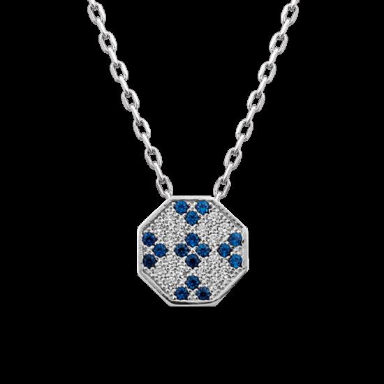 Колье серебряное восьмигранник ЛК-0088-3с