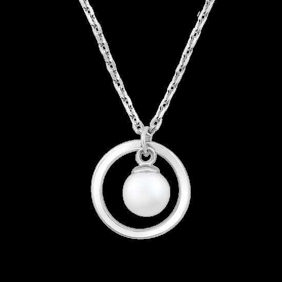 Колье жемчужина в серебряном круге ВС-138р