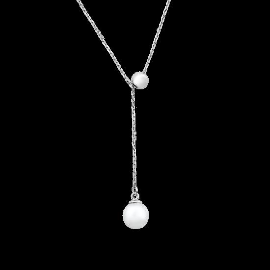 Колье серебряное протяжка с одной жемчужиной ВС-141р