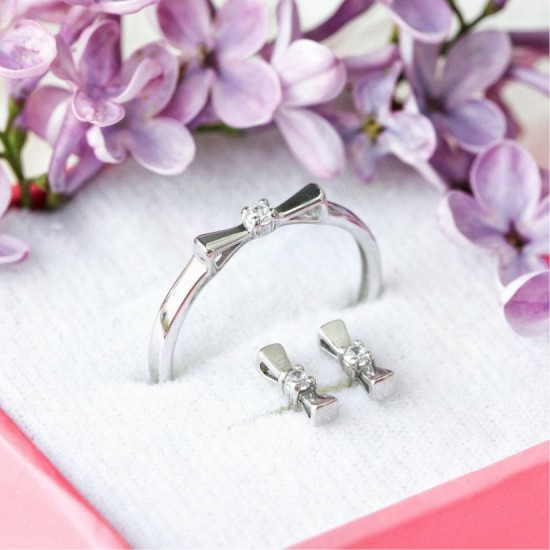 Комплект серебряный Бантики сережки пусеты и кольцо СД-034ф
