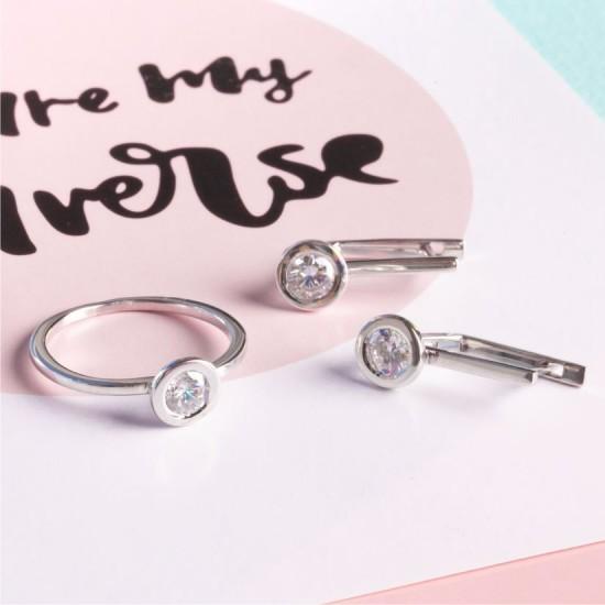 Комплект серебряный Солнце сережки и кольцо Л-015