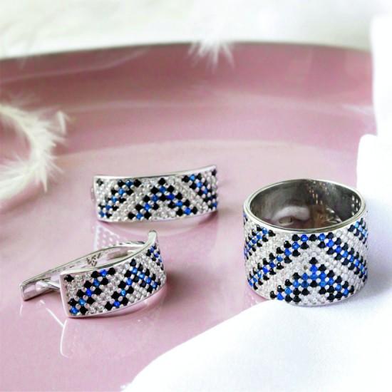 Комплект серебряный Орнамент широкое кольцо и серьги ЛК-0117-6чс