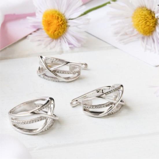 Комплект серебряный Ажурная коса сережки и кольцо с маленькими фианитами ЛК-0148