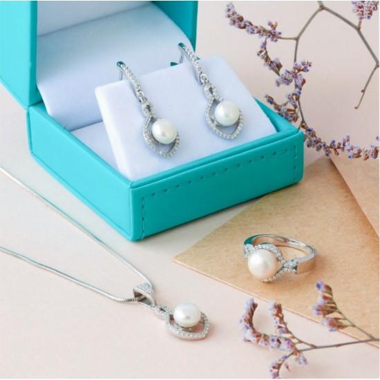 Комплект серебряный Коралл с жемчугом и фианитами ЛК-0151