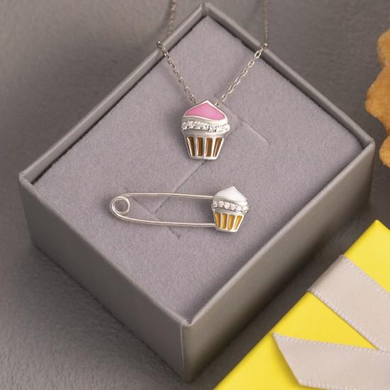Комплект серебряный с эмалью Пирожное булавка и подвес ЛК-0180ер
