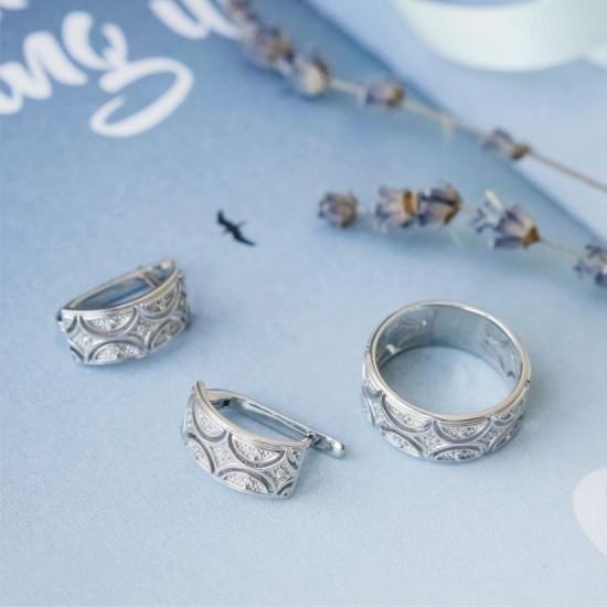 Комплект серебряный Восточный Узор сережки и кольцо ЛК-0186р