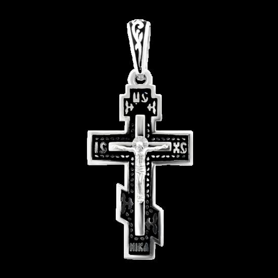 Крестик серебряный с черной эмалью ВС-053ер