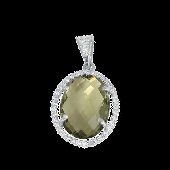 Серебряный кулон с крупным камнем (овал) ЛК-0073р(б)