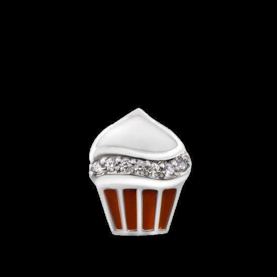 Серебряный кулон с эмалью Пирожное ЛК-0180ерП