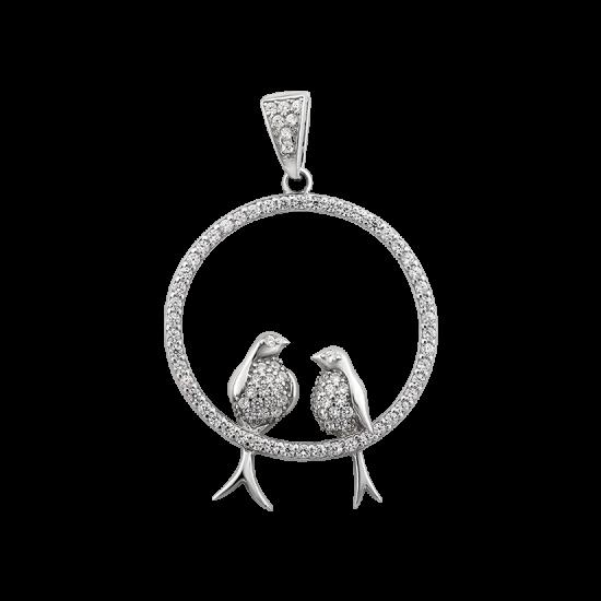 Серебряный кулон с птичками ЛК-0181р