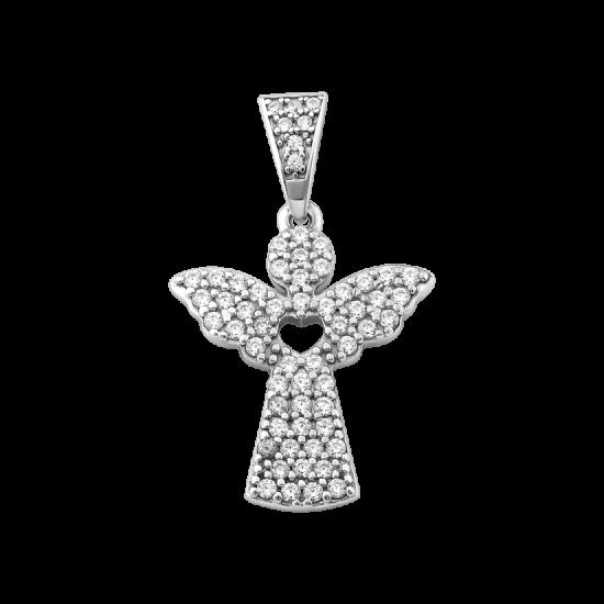 Серебряный кулон Ангел с сердечком внутри ЛК-0276р