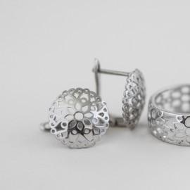 Серебряные сережки кружево с цветами