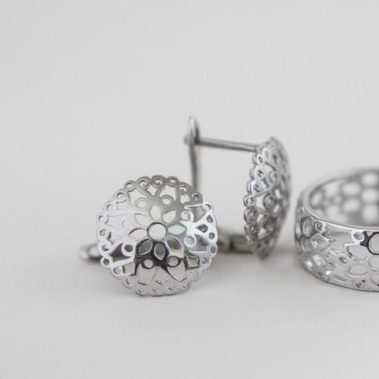 Серебряные сережки кружево с цветами ВС-043р