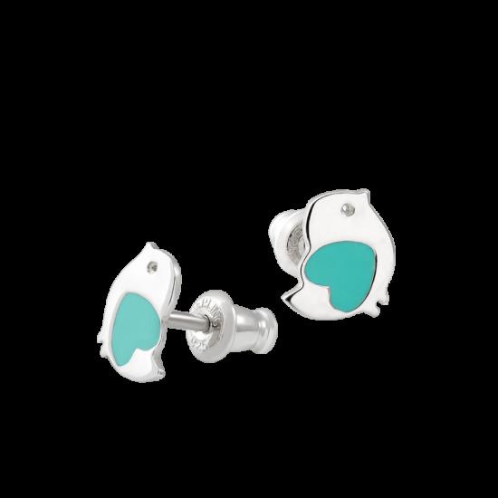 Серебряные сережки Птички с эмалью мятного цвета  ВС-061емр