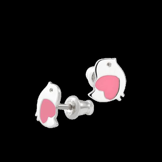 Серебряные сережки Птички с розовой эмалью ВС-061ер
