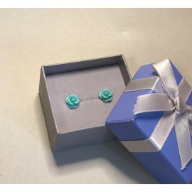 Серебряные серьги Розочки голубые