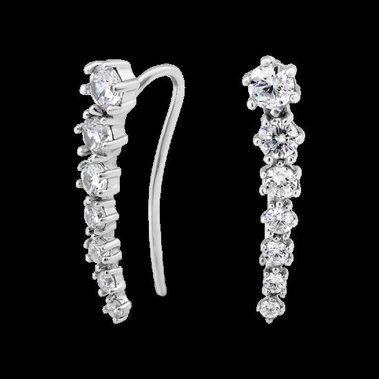 Серебряные серьги каффы семь камней ВС-109р