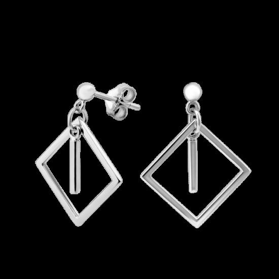 Серьги серебряные пусеты Грани Гармонии Квадраты ВС-117